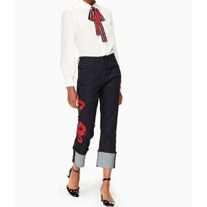 Kate Spade poppy embroidered FLower Straight Jean